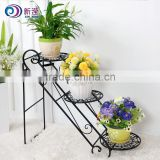 XY1305 Uniquely home garden decor metal plant stand 3 tier flower display shelf wrought iron staircase planter yes folding