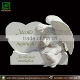 White Marble Heart Headstone With Angel