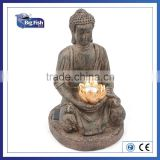 Outdoor Decoration Solar Powered Buddha shaped polyresin garden light with 1Led light