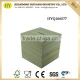 FSC handmade cube wood saving coin bank