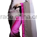Triveni Adorable Beads Worked Faux Georgette Saree 9205