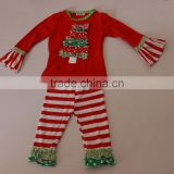 Wholesale baby sweet christmas tree pattern bounique ruffle kid's outfit set for baby