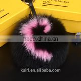 15CM Big Fluffy Bag Bugs Pom Pom Keychains Handmade Alphabet Real Fox Fur Ball Key chain Bag Charm Monster Letter Pompoms