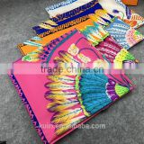 Women 2016 New Fashion Imitated Silk Nations Wind Bohemia peacock Printed Scarf Small Square Scarves