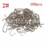 The Best Quality Fishing Tools Lot 100PCS Jig Hook Jig Big Stainless Steel Fishing Hooks White Color Fish Hook Size 2