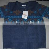 knitted pattern fashion kids pullover blue sweater with warm