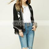 J0784 hot selling flower embroidery lace kimono 3/4 sleeve cardigan lady tops and blouses