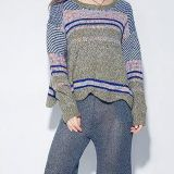 Space Dye Women Oversized Scallop Fair Isle Sweater