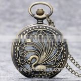 Round Shape Hollow Out Bird Peacock High Quality Cheap Pocket Watch Woman