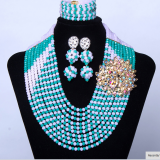 AMYNOVA Amazing Women Sitimulation Crystal Jewelry Set African Nigerian Indian Bridal Wedding Jewelry Set SF101-1
