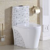 Good sale economic color decal one piece siphonic bathroom toilet wc