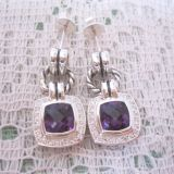 Sterling Silver 925 Design Inspired David Yurman Amethyst  Cushion Earrings