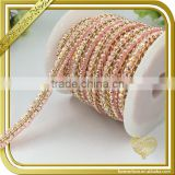 Pink rhinestone chains trimming hot fix glue crystal diamond wedding belts embellished for women FHRS-035