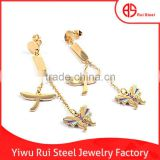 China Factory High Polish Dragonfly and Butterfly Charms Findings Stainless Steel Cover Ear Earrings Ear Stretching Earrings