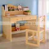 Customize Factory Price 100% Solid Wood Pine Wood Children Studying Desk and Chair Wholesale