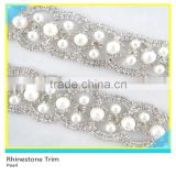 Fancy 888 Crystal Rhinestone Pearl Cup Chain For Crafts Plated Silver