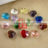 14mm glass crystal Straight hole heart shape crystal beads wholesale!