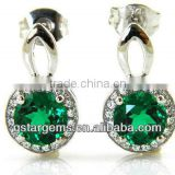 925 Sterling Silver Created Emerald Earrings Hot Gemstone Jewelry Semi precious stone Hong Kong Wholesale