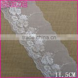Factory fashion chea 11.5cm nylon single side embroideried Lace fabric for woman underwear clothes decoration