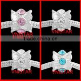 Vnistar Silver plated large hole european beads with clear&pink&cyan crystals for bracelet PBD1225