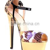 Gold metal heels Multi color sequined cloth leopard print stiletto heel womens dress sandals
