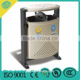 Public Wood and Metal Dustbin Trash Can Outdoor Dustbin