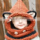 New Design Fox Ear Winter Windproof Baby Hats And Scarf Set For Kids Boys Girls Shapka Caps For Child FH-167