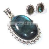 Blue fire labradorite jewelry 925 sterling silver jewelry wholesale Indian silver gemstone jewellery