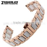 16|18|20mm Charming high quality stainless steel ceramic Watch Bracelet White Black wholesale 3PCS
