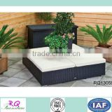 Outdoor Rattan Benched With Flower Pot PE Rattan Alum Frame