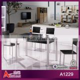 A1229 China metal legs with silver paintting black walnut wooden bistro custom modern wooden dining table