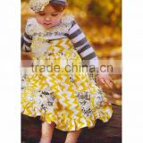 autumn design long sleeve knit stripes cloth boutique toddlers girl yellow zig zag ruffles dress