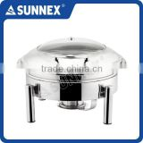 SUNNEX Stainless Steel Mirror Polished Hydraulic Hinge Round 6.8Ltr. Induction Chafer / Buffet Chafing Dish
