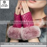 China wholesale custome Women's genuine suede leather fingerless leather Gloves with supple rabbit fur trim