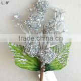 "2014 Fresh Artificial Christmas Silver Flower Pick 8"" Artificial Fruit Flower With Berries And Leaf"