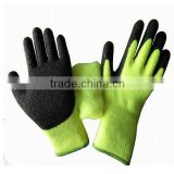 Green Acrylic Knitting Shell Sofetextile Latex Coated Glove Winter Construction Work Gloves