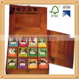 Tea Bag Organizer Wood Tea Up Decorative Storage Box with 12 Compartments tea box