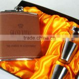 Different style stainless steel Hip flask of leather gift set cup funnel