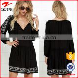 2016 hot selling women summer dress women long sleeves black tunic dress with embroidery                                                                         Quality Choice
