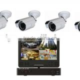 DVR-6414KS 10.1inch LCD monitor 4CH H.264 DVR +CCTV Surveillance Security ccd cameras System Kit