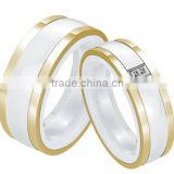 Trendy Brand Round 316L Stainless Steel Combined White Ceramic Ring for Best Gift,imitation jewelry china jewelry wholesale