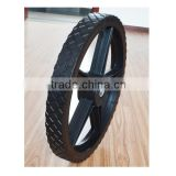 16x1.75 semi pneumatic rubber wheel with diamond tread and black plastic rim for mowers or material handling equipment