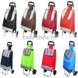 Folding trolley shopping cart with removable bag and detachable wheels, stainless steel luggage cart