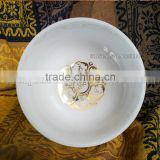 frosted quartz crystal singing bowls with design and musical note