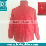 whosale cheap price 190T nylon mech solid red promotional advertising hooded foldable jacket with heat transfer print(LCTN1562)