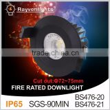 Fire rated COB downlight LED Downlight 6-10W 2.5 inch-90 MINS ip65 bathroom downlights fire rated