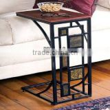 RH-4520 Living room Geometric Design Artificial Slate-Trimmed MDF top metal Sofa Side Table