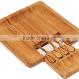 100% Natural Bamboo Cheese Board & Cutlery Set with Slide-Out Drawer/cheese board with knife
