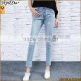 Casual light blue lady jeans women slim denim trousers