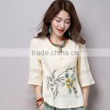 The chinese style hanfu cotton blouse restoring ancient ways 3/4sleeve landscape painting print shirts for women